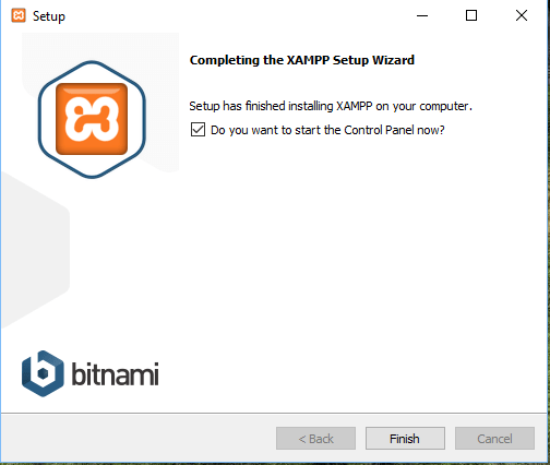 Completing the XAMPP Setup Winzard for windows 7810