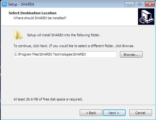 Select Destination Location shareit installer