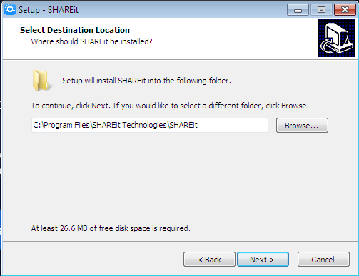 Select Destination Location shareit installer