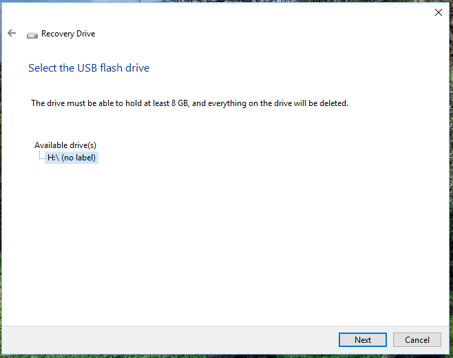 Select the USB Flash drive to Windows 10 Recovery