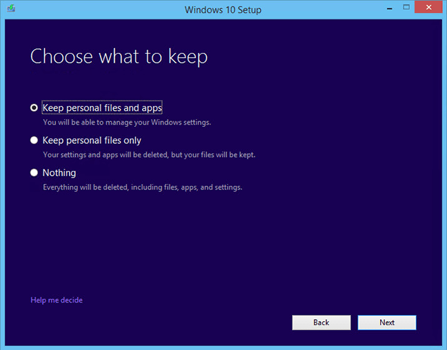 choose keep installer windows 10