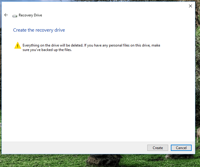 create the recovery drive for Windows 10