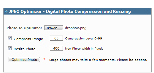 online image compresser from jpeg-optimizer