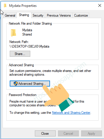advanced sharing windows 10