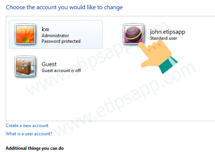 choose the account you would like to change windows 7
