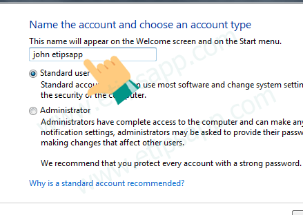 name the account and choose an account type windows 7