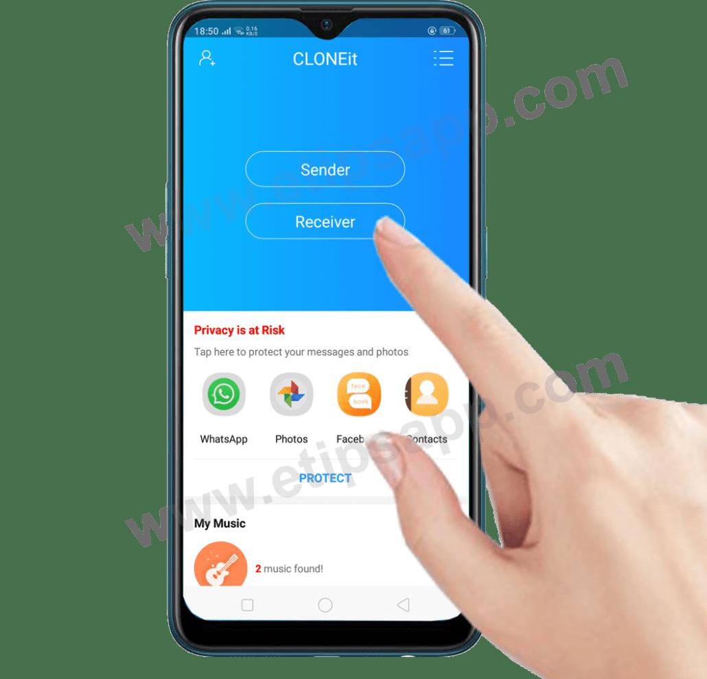 How to Receiver CLONEit app