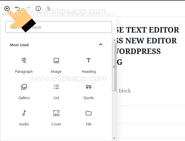 add block editor WORDPRESS GUTENBERG