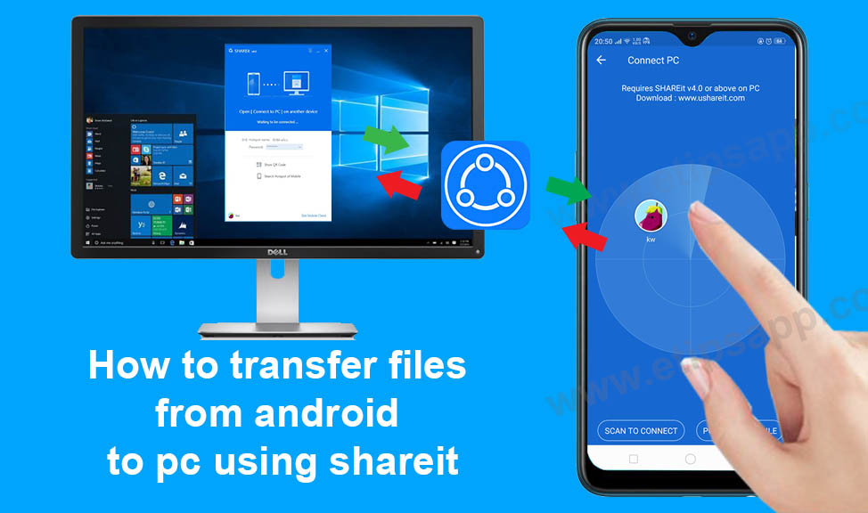 how to transfer files from android to pc using shareit