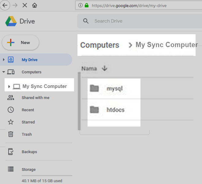 pc LAPTOP sync to google drive