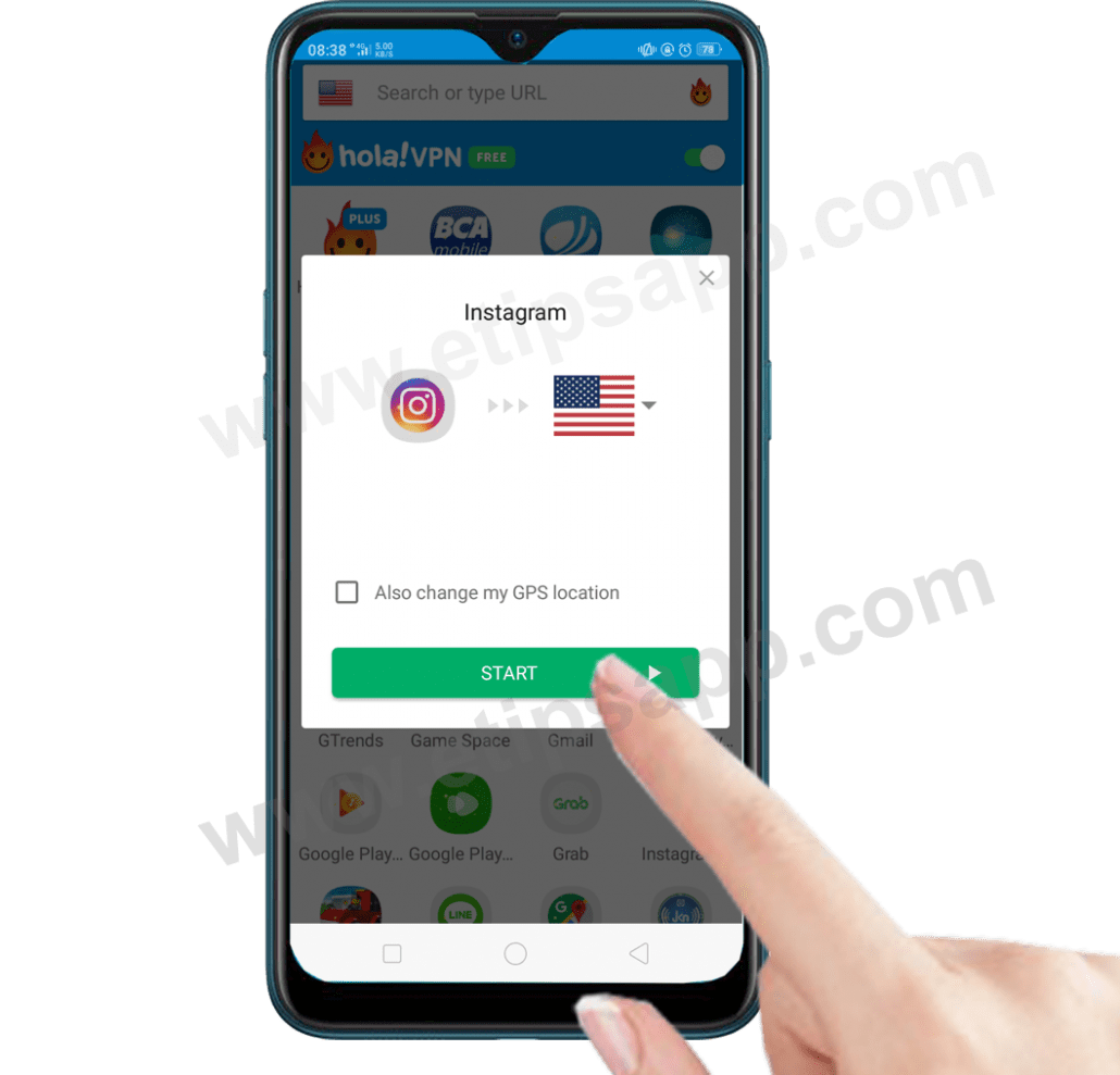start Hola free VPN proxy