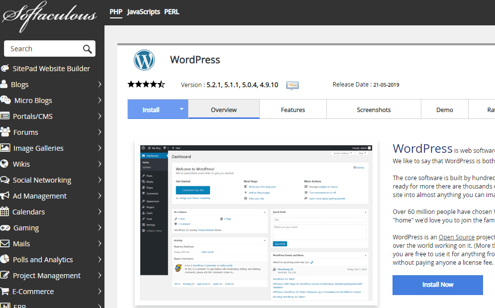 Wordpress installer in cpanel