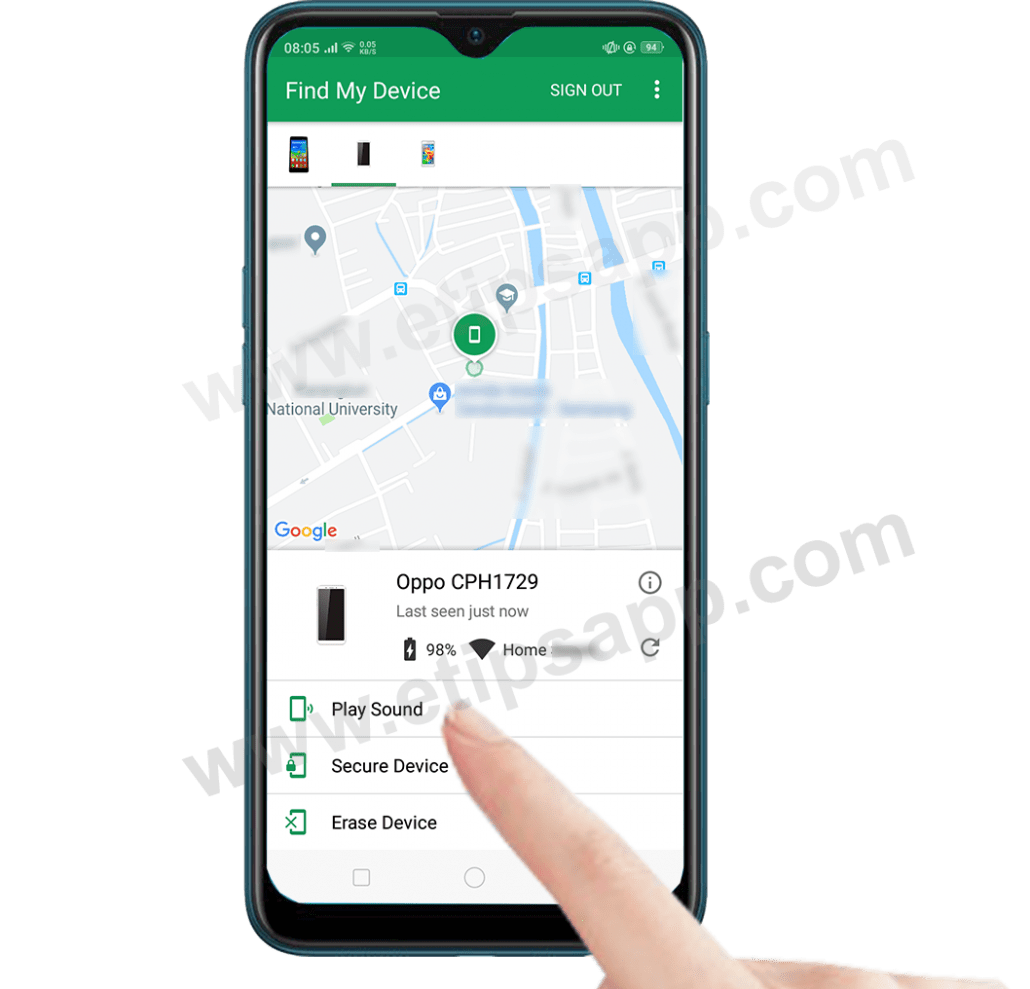 play sound secure device erase device find my device