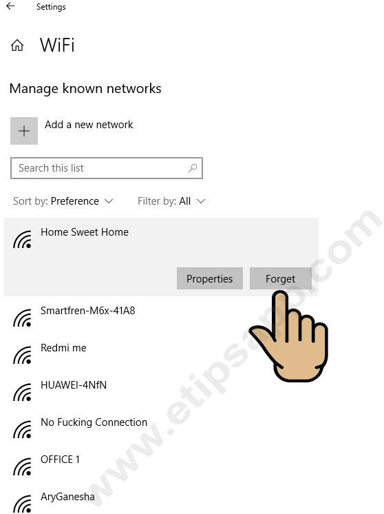 forget wifi windows 10