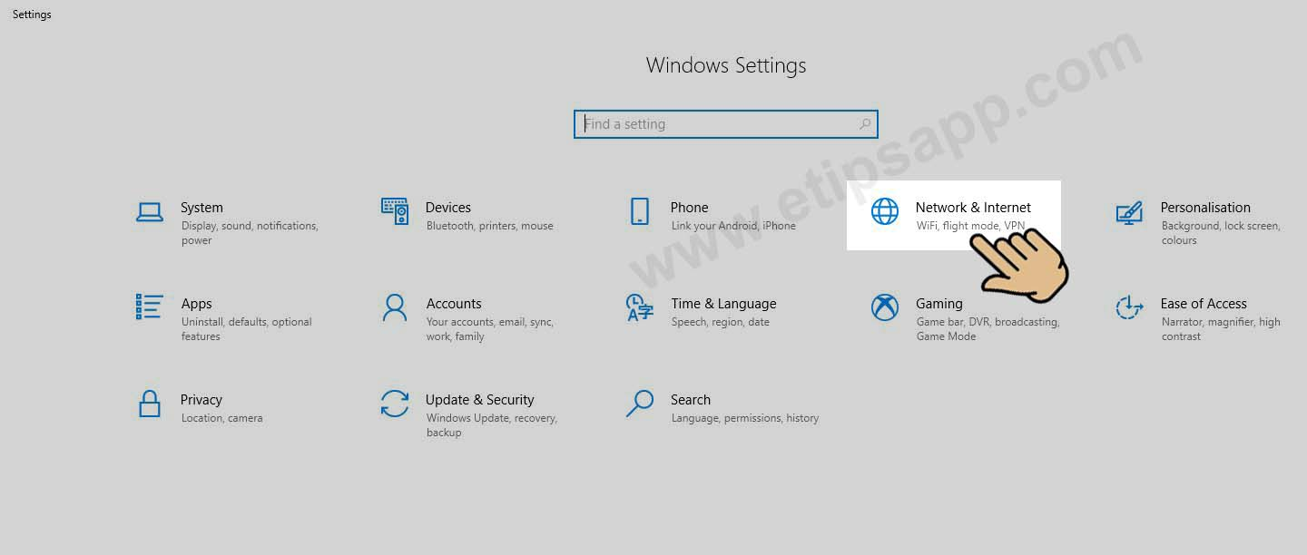 menu Windows settings network and internet wifi