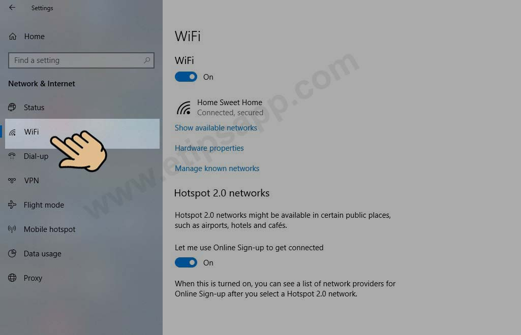 setting menu wifi windows 10
