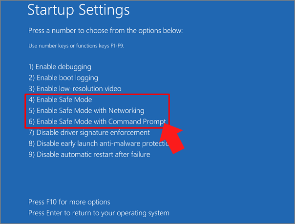 enable safe mode windows 10