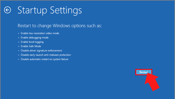 restart to change windows options